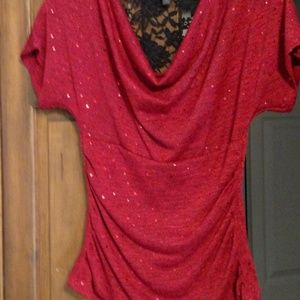 sequined Red Blouse